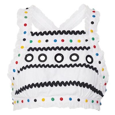 Yoav Cropped Embellished Cotton-Gauze Top