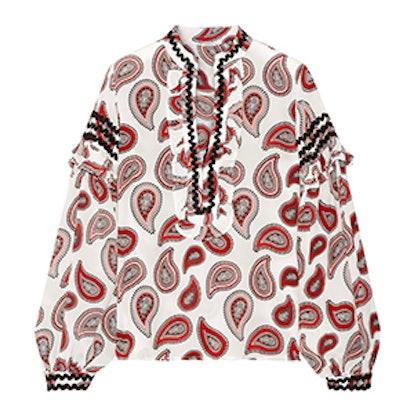 Dodo Bar Or Ruffle-Trimmed Printed Silk Crepe De Chine Blouse