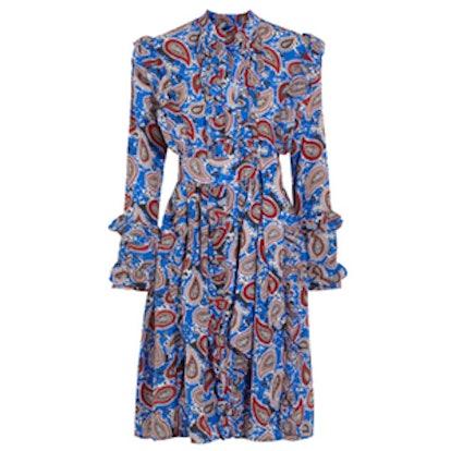 Jaeger Ruffled Paisley-Print Silk Dress