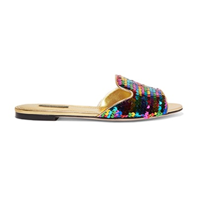 Sequined Metallic Leather Slides