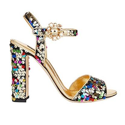 Sequin Block Heel Sandals