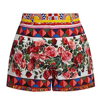 Carretto-Print Cotton Shorts