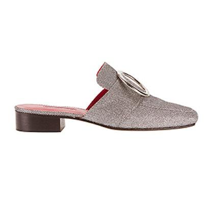 Petrol Fabric Slide Loafers