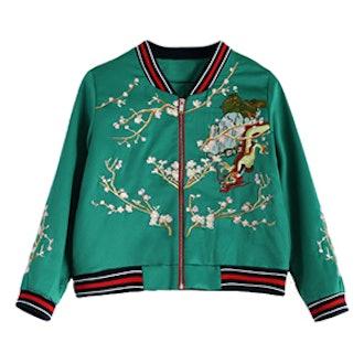 Dragon Flower Embroidery Souvenir Jacket