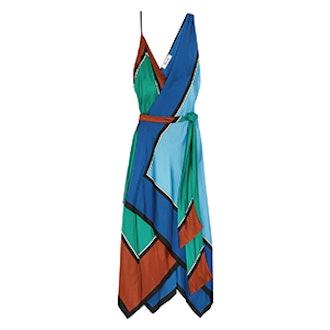Asymmetric Printed Silk Maxi Dress