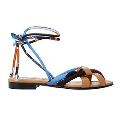 Leather-Trimmed Silk-Twill Sandals