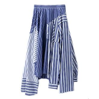 White & Navy Reconstructed Shirting Skirt