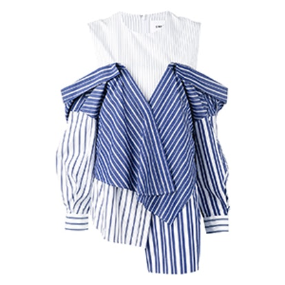 White & Navy Reconstructed Shirting Blouse
