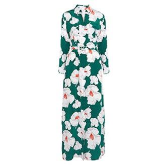 Major Floral-Print Washed-Silk Maxi Dress