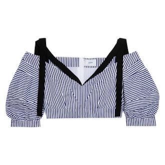 Debra Cropped Striped Cotton Top