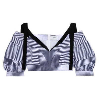 Debra Cropped Striped Cotton Top