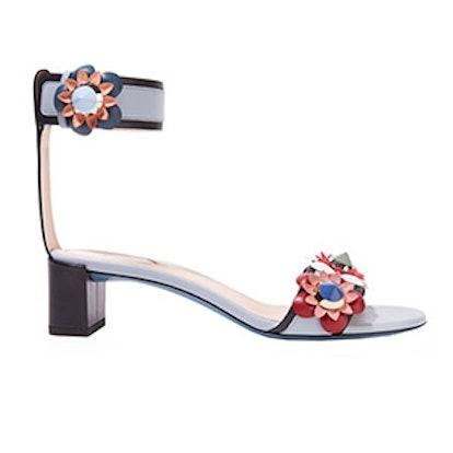 Floral-Appliqued Leather Sandals