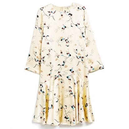 Sanders Satin Dress in Biscotti Leaves