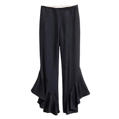 Silk-blend Flounced Pants