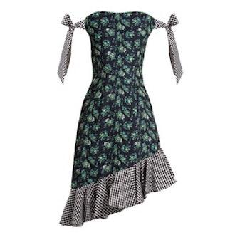 Off-The-Shoulder Floral-Print Cady Dress