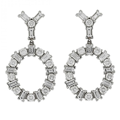 18K White Gold Earrings With Round and Baguette White Diamonds