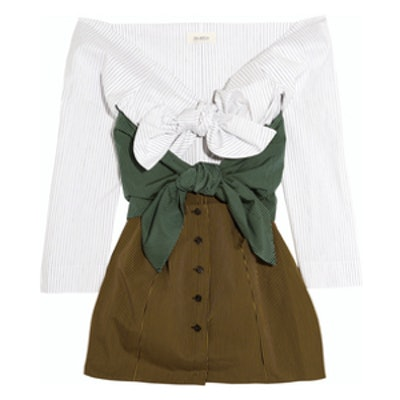 Off-The-Shoulder Striped Cotton-Blend Top