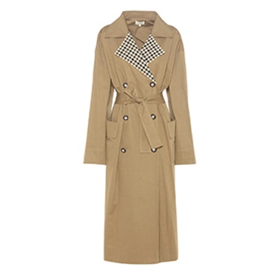 Checked Collar Trench Coat