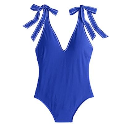 Shoulder-Tie One-Piece Swimsuit