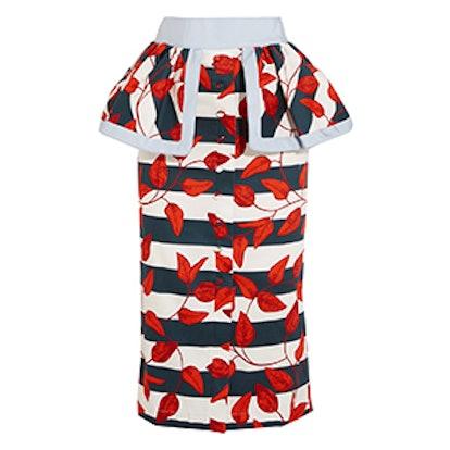 Tobago Printed Cotton-Blend Peplum Skirt