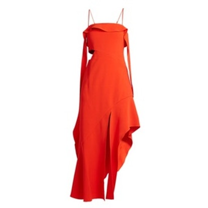 Ruffled Bias-Cut Stretch-Crepe Dress