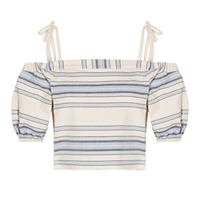 Halima Off-The-Shoulder Striped Cotton And Linen-Blend Top