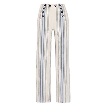 Halima Striped Cotton And Linen-Blend Wide-Leg Pants