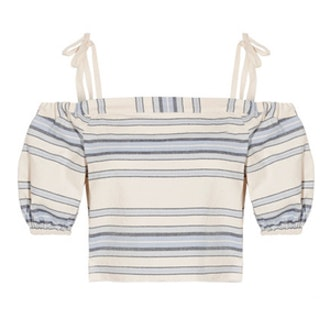 Halima Off-The-Shoulder Striped Cotton And Linen-Blend Top