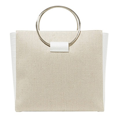 Ring Canvas And Croc Effect Leather Tote