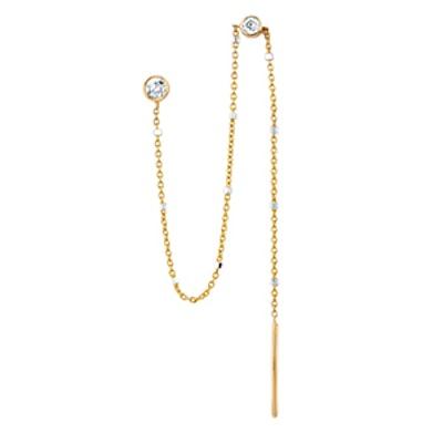 Single Diamond Thread Through Twinkle Earring