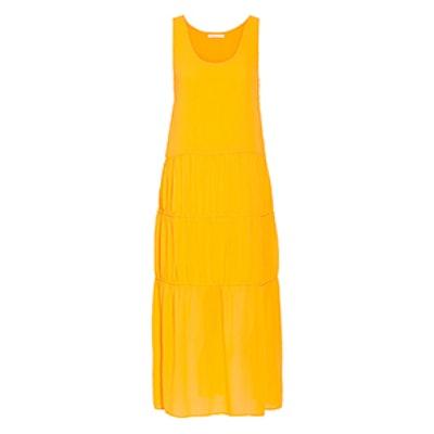 Tiered Crepe Midi Dress