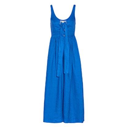 Lace-Up Organic Linen Midi Dress