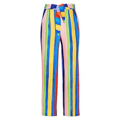Striped Organic Linen Wide-Leg Pants
