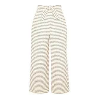 Cropped Striped Basketweave Cotton-Blend Wide-Leg Pants