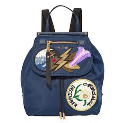 Embellished Nylon Zip Pack Backpack