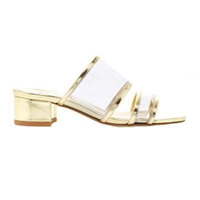 Martina PVC-Trimmed Metallic Leather Sandals