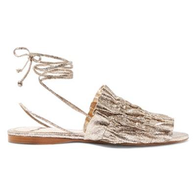 Alesandra Metallic Cracked-Leather Sandals