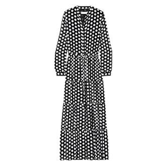 Tiered Polka-Dot Georgette Maxi Dress