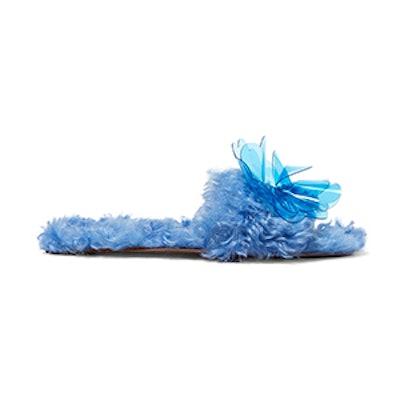 Embellished Faux Shearling Slides