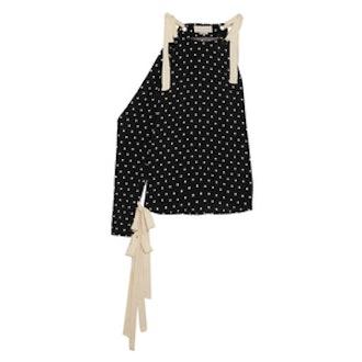 One-Shoulder Polka-Dot Silk-Crepe Top