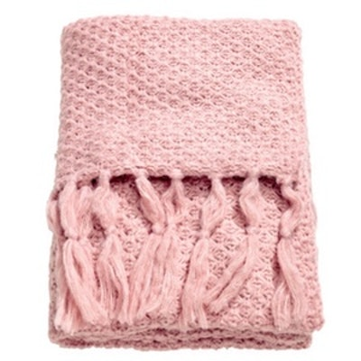 Moss-Knit Throw in Light Pink