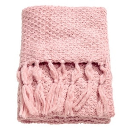 Moss-Knit Throw in Light Pink