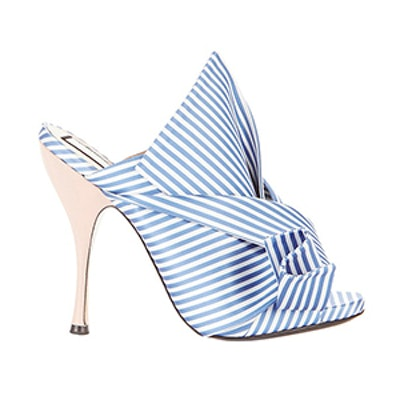 Striped Large Bow Mule Sandals