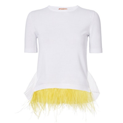 Feather Detail White Knit Top