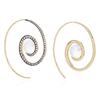 Spiral Moon Earrings In Yellow Gold With Moonstone & Diamonds