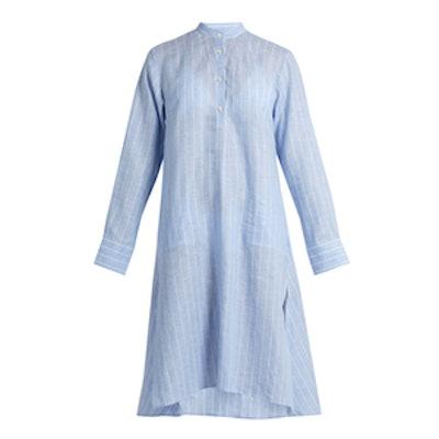 Stand-Collar Long-Sleeved Striped Kaftan