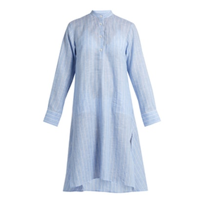 Stand-Collar Long-Sleeved Striped Kaftan