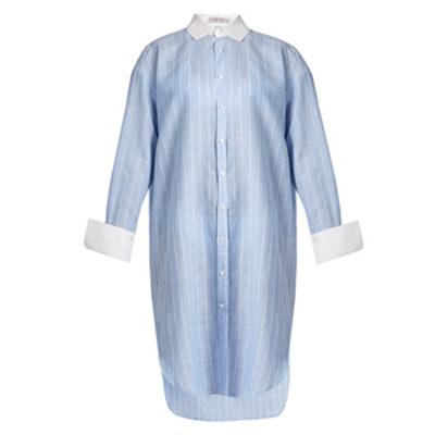 Long-Line Step-Hem Striped Shirt