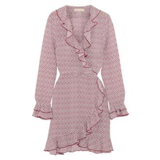 Fiesta Ruffled Printed Silk Crepe De Chine Wrap Dress