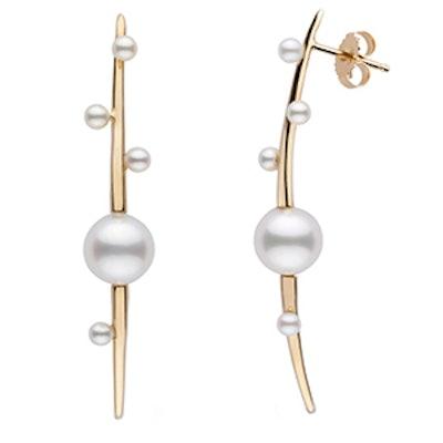 Petite Crescentic Earrings In 14k Yellow Gold